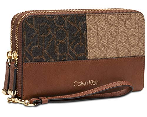 Calvin Klein Logo Monmgrom Large Double Zip Around Wallet – Logo Combo/Gold