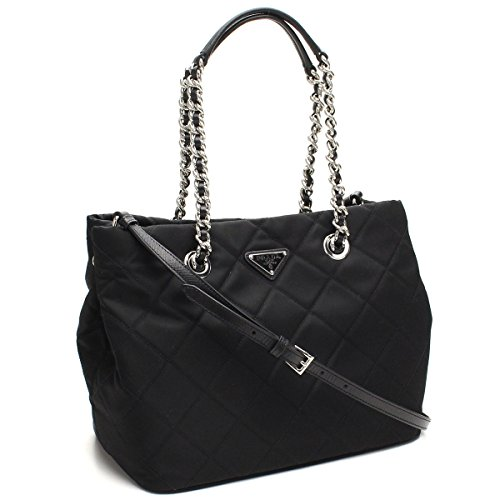 Prada Midnight Black Quilted Tessuto Chain Designer Shoulder Tote Bag for Women 1BG740