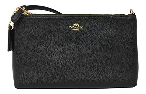 Coach Pebbled Leather Large Wristlet 25 Black F30257