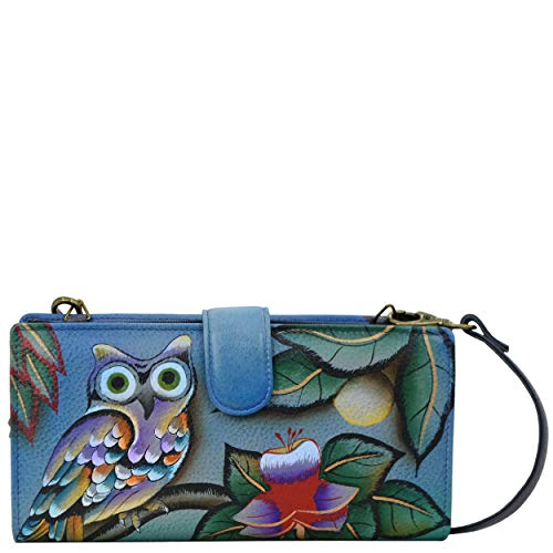 Anna by Anuschka Handpainted Leather Women's Organizer Wallet, mno-midnight owl, One Size