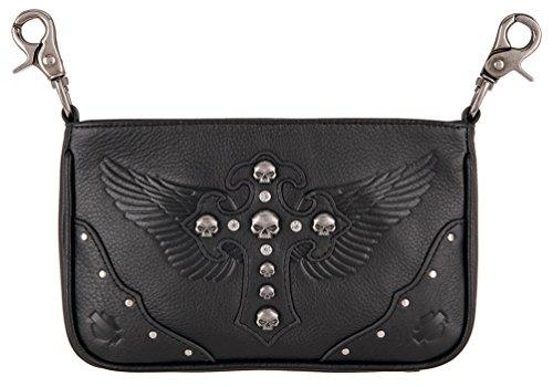 Harley-Davidson Women's Metal Mama Leather Hip Bag w/Strap, Black HDWBA11265
