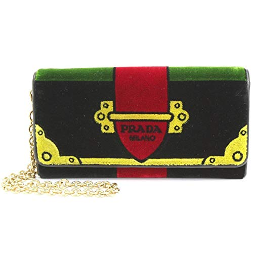Prada Portafoglio Pattina Cammello Black and Green Velvet Ricamo Wristlet 1MH019