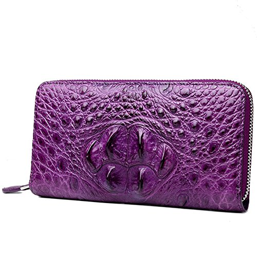 Handmade Women's RFID Large Capacity Crocodile Skin Genuine Leather Clutch Wallet Card Holder Ladies Purse