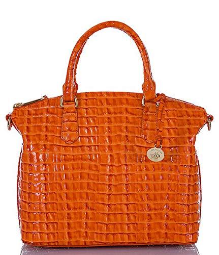 Brahmin Duxbury Satchel Tangerine La Scala emb Leather Bag