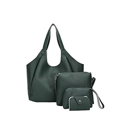 PERHAPS U Purses and Handbags for Women Fashion Tote Bag Shoulder Bag Top Handle Satchel 4pieces Soft Leather Hobo Purse Set (Green)