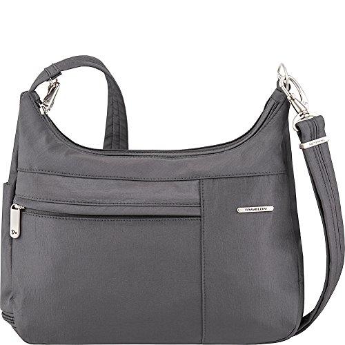 Travelon Anti-Theft Medium Welted Double Zip Crossbody – Lightweight Water & Dirt Resistant Handbag – (Pewter/Dark Emerald Interior)