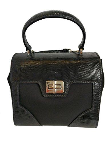 Prada Women's Black Tessuto Lucerto Leather Handbag 1BA014