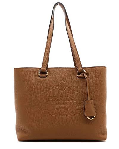 Prada Women's Brown Vitello Daino Leather Shopping Tote 1BG100