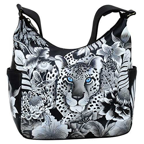 Anuschka Women's Genuine Leather Handbag | Classic Hobo With Side Pocket | Cleopatra's Leopard