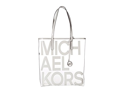 The Michael Large Graphic Logo Print Clear Tote Bag – Optic White