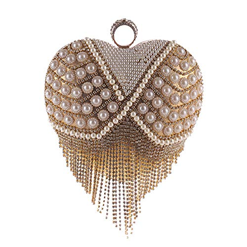RMXMY Sweet Atmosphere Polyester Ladies Bag Love Gift Heart-Shaped Pearl Diamond Trend Wild Clutch Bag Banquet Packet