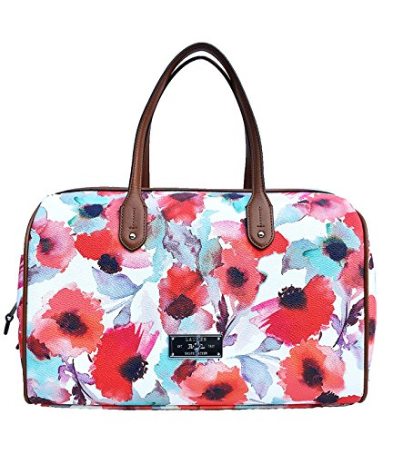 Lauren Ralph Lauren Clements Barrel Floral Satchel Handbag, Coral
