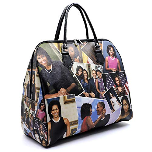 Magazine Cover Collage Michelle Obama Printed Carry-on Duffle Bags for Travel or Gym