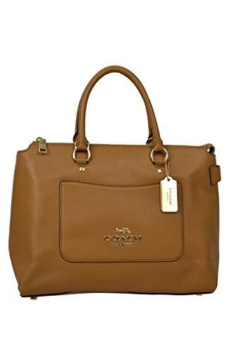 Coach Womens F31467 Refined Pebbled Leather Ema Satchel Shoulder Bag Purse Light Saddle