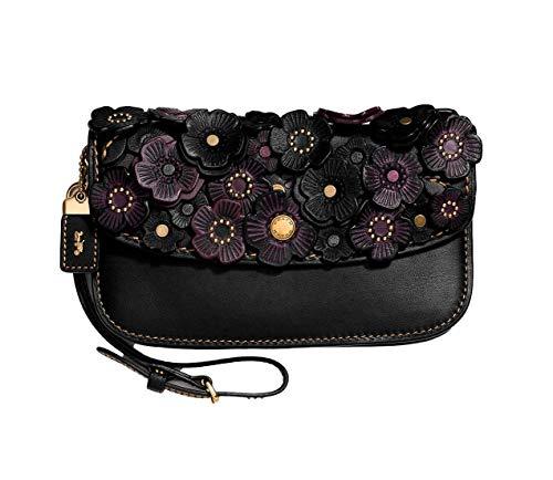 COACH Wild Tea Rose Clutch Bag Wallet/Wristlet in Antique Brassl/Black 23536