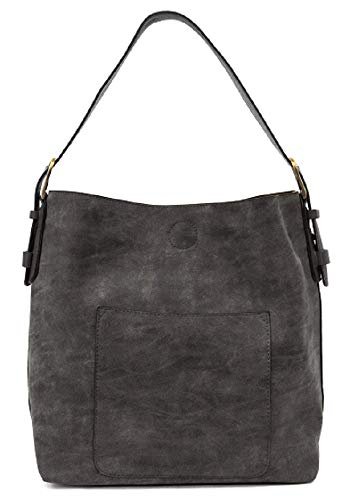 Joy Susan Classic Hobo Handbag (Black Lux Black Handle)