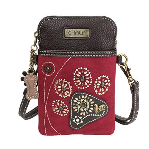 Chala Dazzled Paw Print Cellphone Convertible Strap Crossbody Handbag, Dog Lovers Gift