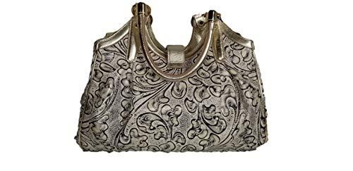 BRAHMIN Elisa Creme Irvine Satchel Leather Handbag