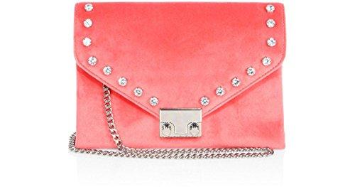 Loeffler Randall Signature Lock Chain Velvet Rhinestone Crossbody Clutch Bag