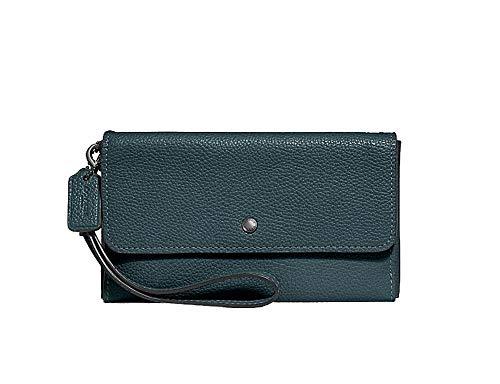 Coach Leather Triple Wallet Wristlet – #F29609 – Cypress/Gunmetal
