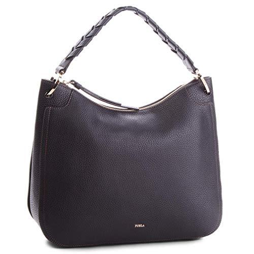 Furla Rialto Ladies Black Onyx Leather Hobo Bag