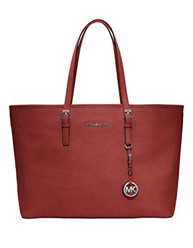 Michael Kors Womens Jet Set Travel Medium Multifunction Tote Scarlet Handbag