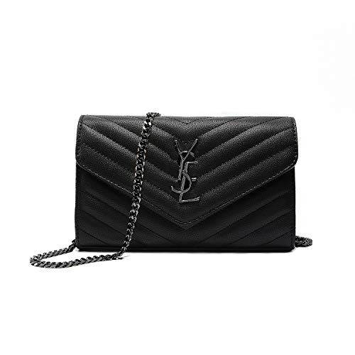 """Simple Small Crossbody Bag Quilted Shoulder Purse With""""Y"""" Black Chain Strap"""
