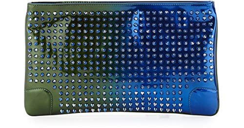 Christian Louboutin Loubiposh Spikes Leather Blue Authentic $1250 Clutch New