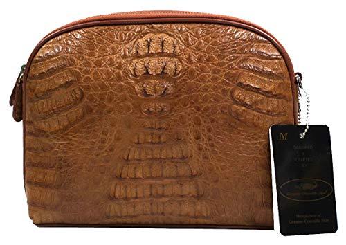 Authentic M Crocodile Skin Clutch Shoulder Bag Zippers W/Strap Tan Handbag