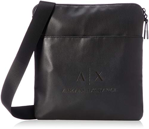 Armani Exchange Men's Medium Sized Flat Crossbody, Black/Gun Metal, UNI