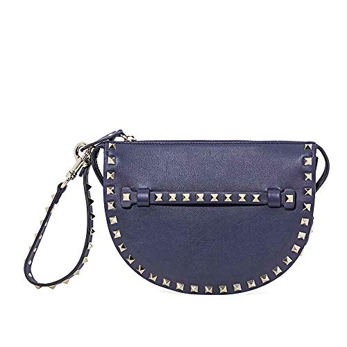 Valentino Rockstud Leather Clutch- Marine