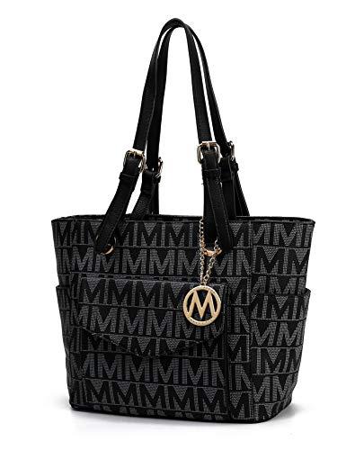 MKF Shoulder Handbag for Women: Vegan Leather Satchel-Tote Bag, Top-Handle Purse, Ladies Pocketbook Black