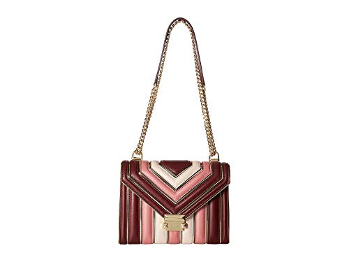 MICHAEL Michael Kors Whitney Large Quilted Tri-Color Polished Leather Shoulder Bag, Oxblood Pink Multi