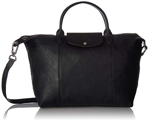 Longchamp Le Pliage Cuir Top handle black leather.