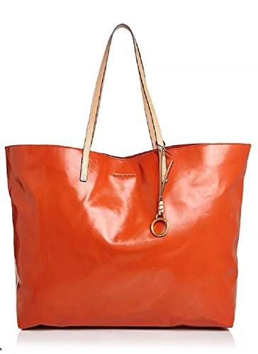 Tory Burch Women's Milo Pomander Orange Large Leather Tote Handbag