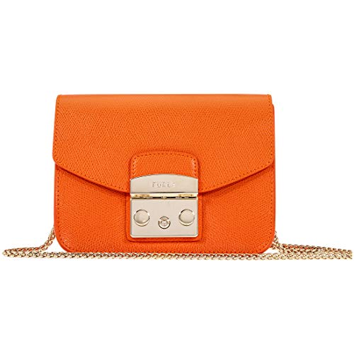 Furla Metropolis Ladies Small Orange Leather Crossbody Bag 1007256
