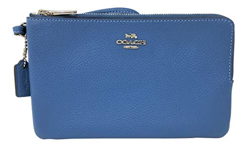 Coach Pebble Leather Double Zip Large Wristlet Wallet Sky Blue F87587