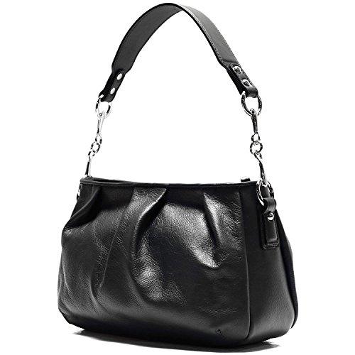 Floto Firenze Hobo Shoulder Handbag in Soft Black Calfskin Leather