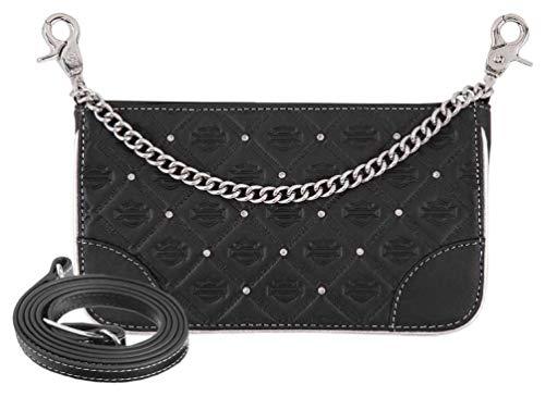 Harley-Davidson Women's B&S Studded Chain Leather Hip Bag w/Strap HDWBA11313
