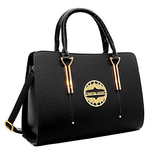 Womens Pure Color Pu Leather Boutique Tote Bags Top Handle Handbag (Black)