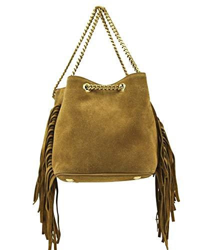 Yves Saint Laurent Emmanuelle Brown Suede Fringe Bucket Bag 434594 7735