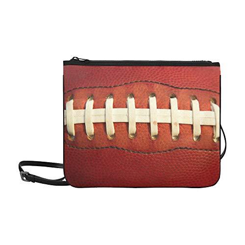 American Football Laces Close Up For Sports Backgr Pattern Custom High-grade Nylon Slim Clutch Bag Cross-body Bag Shoulder Bag