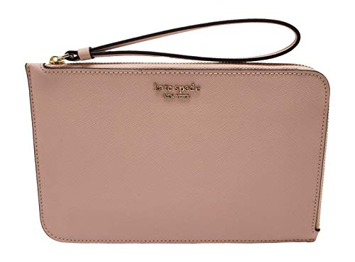Kate Spade New York Cameron Medium L-Zip Leather Wristlet Pouch Wallet Warm Vellum, Large