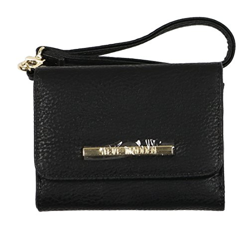 Steve Madden French Wristlet Tri-Fold Wallet Black Gold Adult Micro zippered