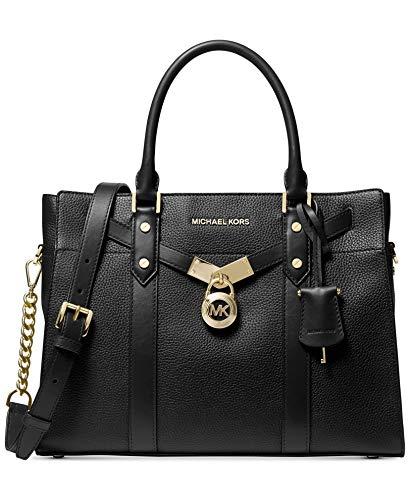 MICHAEL Michael Kors Nouveau Hamilton Large Pebbled Leather Satchel Bag, Black