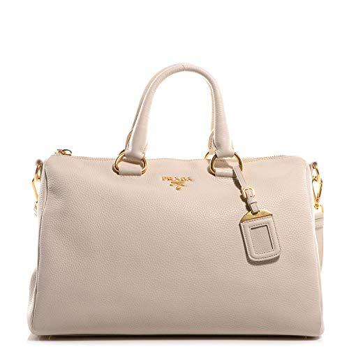 Prada Bauletto Women's White Talco Vitello Phenix Handbag 1BB023