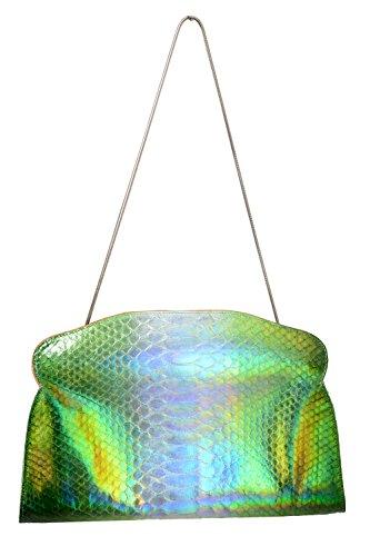 "Maison Margiela 11 ""Replica"" Women's Silver Green Python Skin Clutch"