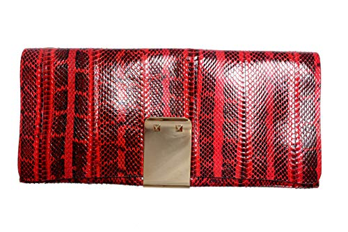 Valentino Women's Red Python Rockstud Long Clutch Bag