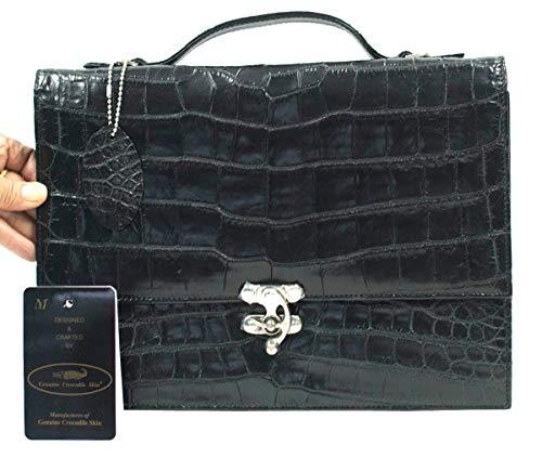 Authentic M Crocodile Skin Belly Clutch Business Bag Locked W/Strap Handbag