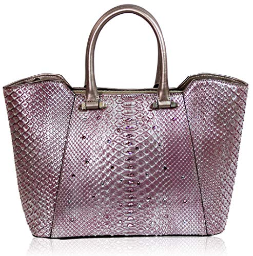 Silvano Biagini Italian Designer Rose Tourmaline Metallic Genuine Python Leather Crossbody Bag